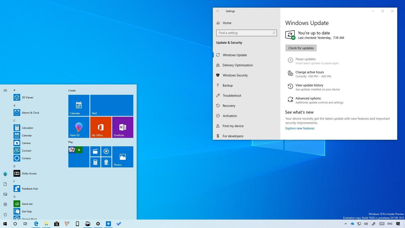 Windows 10 build 18282 with light theme