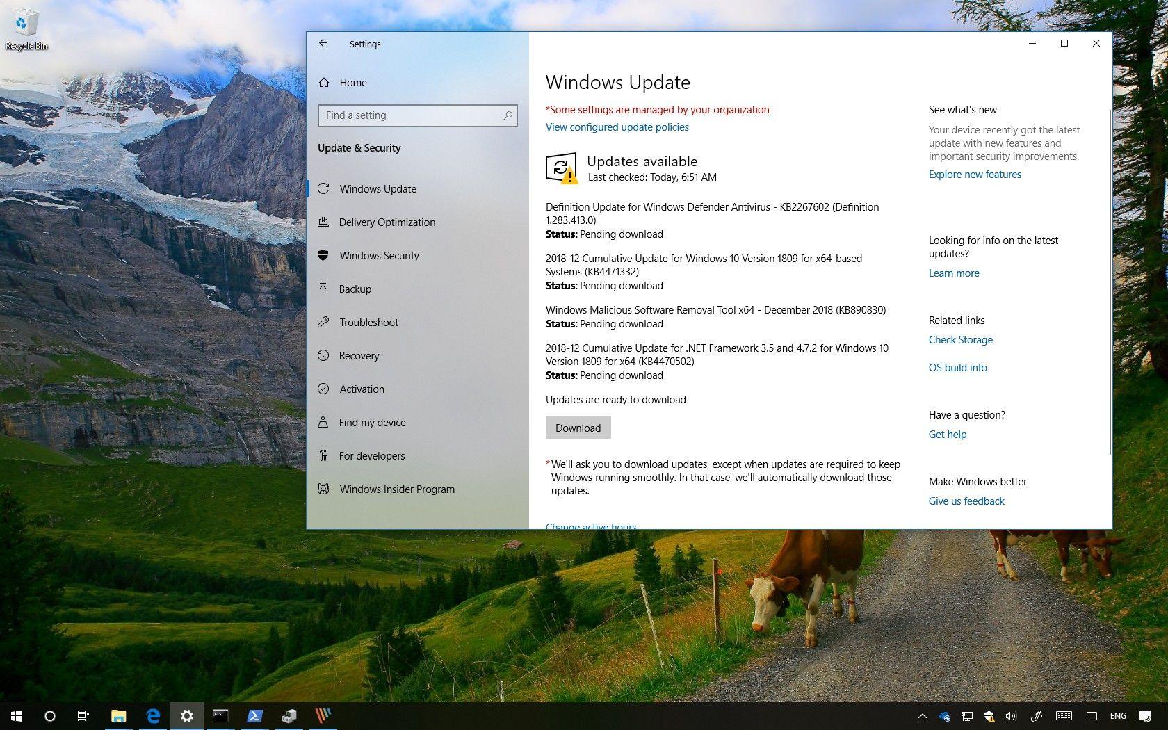 KB4471332 update for Windows 10 version 1809