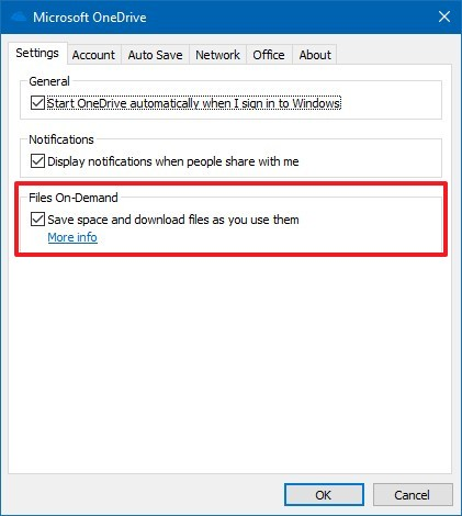 Disable Files On-Demand to allow File History backup