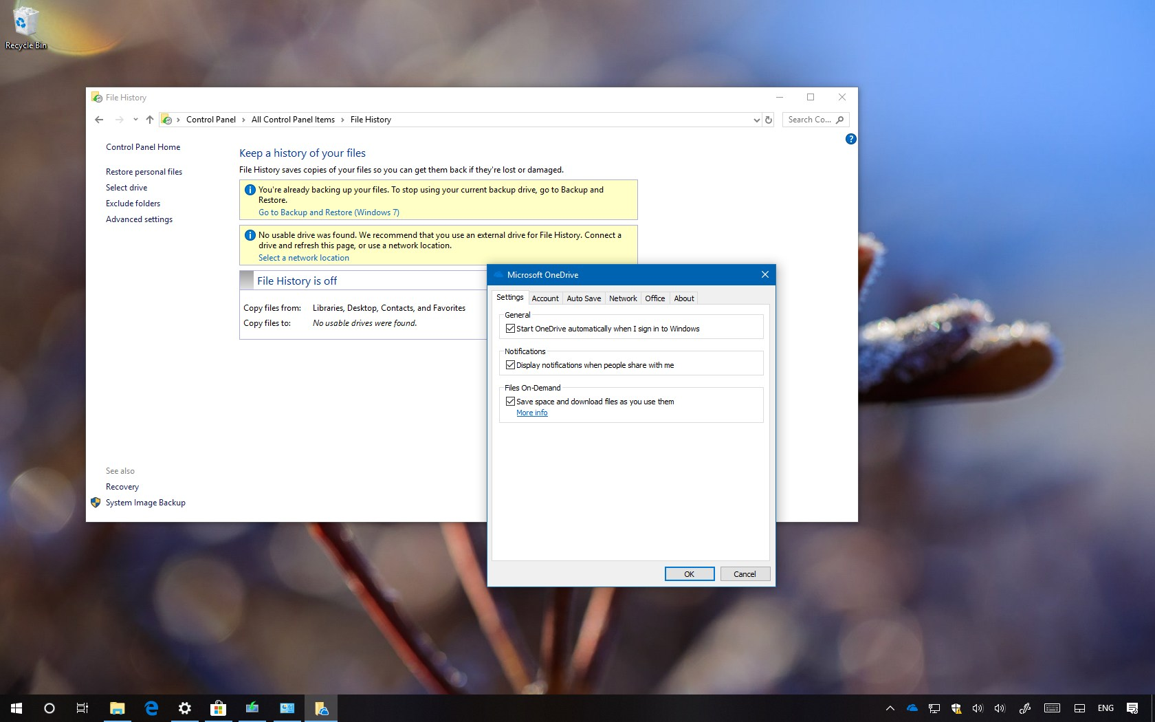 get file history to backup onedrive files