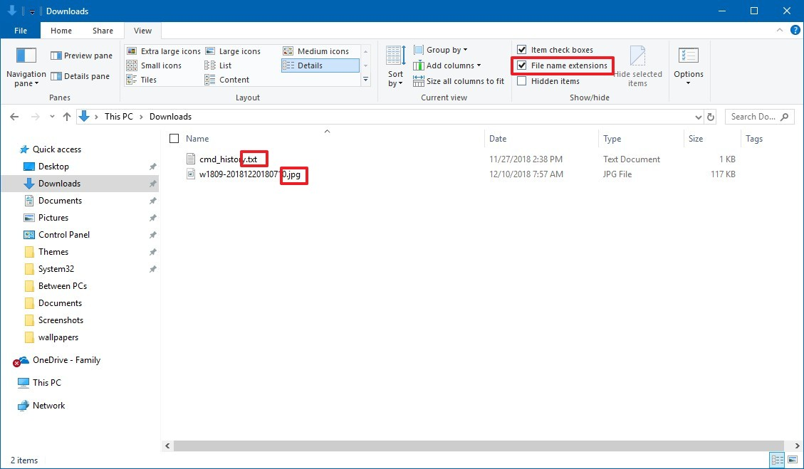Show file extensions on File Explorer