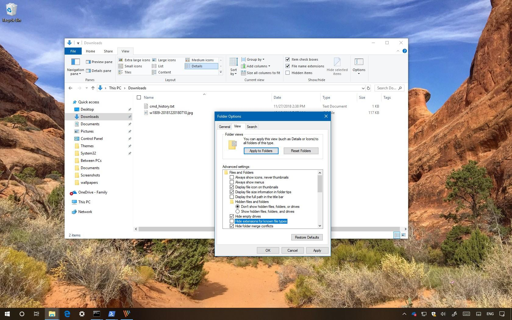 Windows 10 file extensions