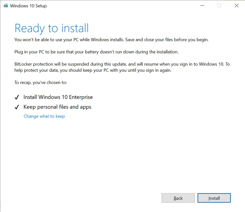 Windows 10 ISO setup experience with lighter color interface