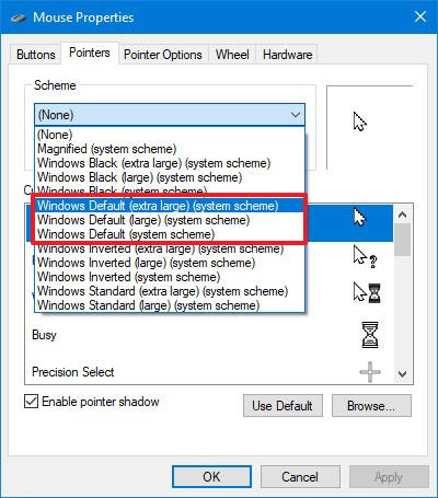 Change mouse pointer size using Control Panel