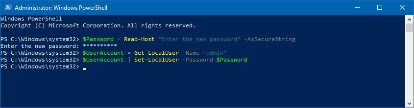 PowerShell commands to change an account password