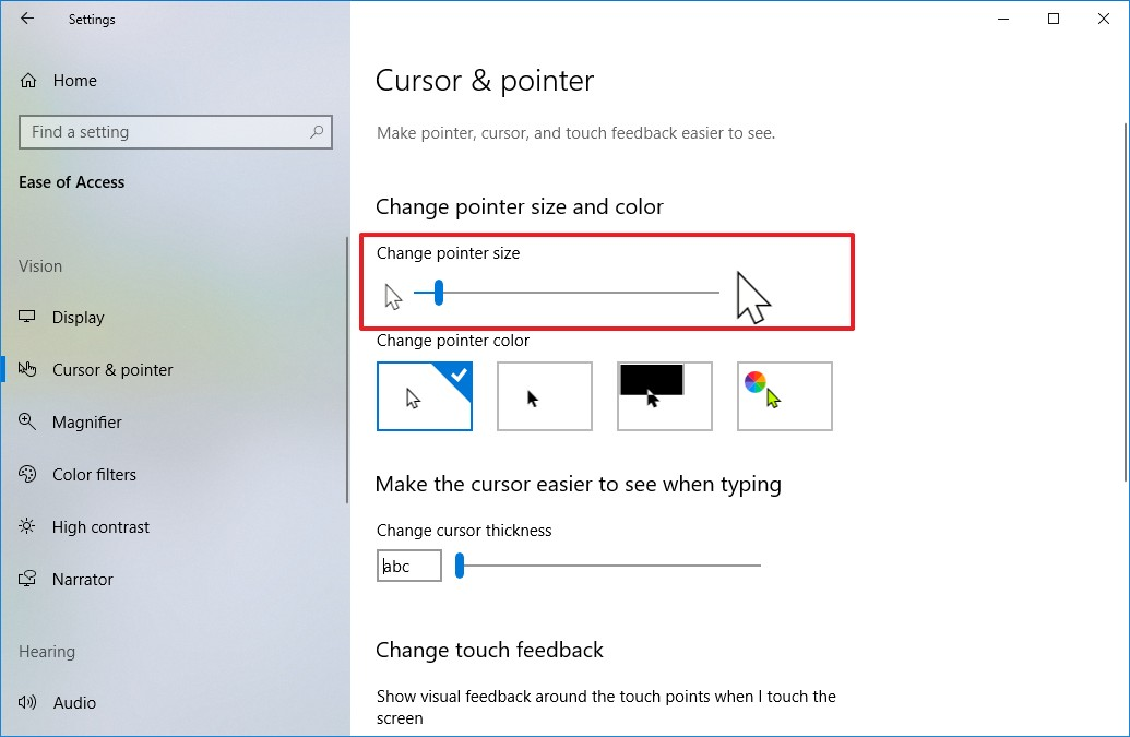 Change mouse pointer size using Settings app