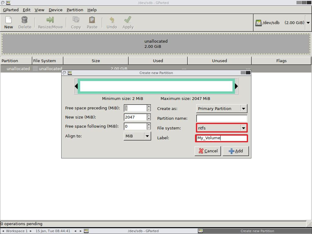 Create new partition using GParted