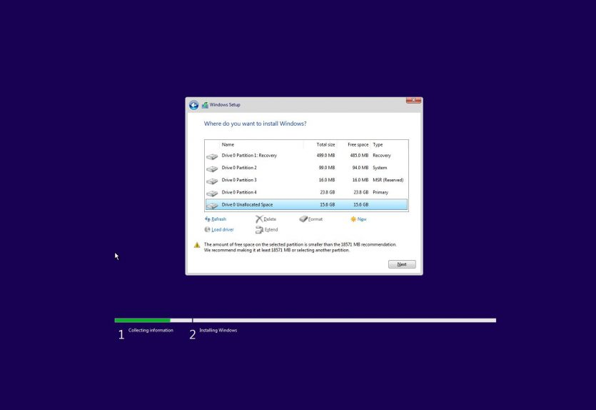 Installing Windows 10 on a custom partition