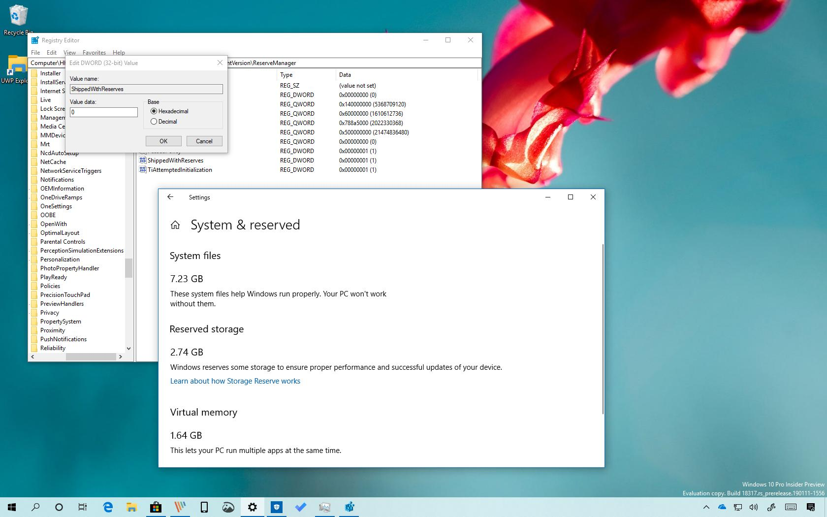 Reserved Storage disabled on Windows 10