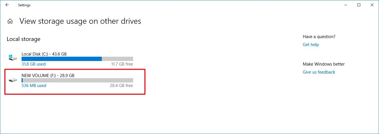 Other drives storage usage on Windows 10 1903