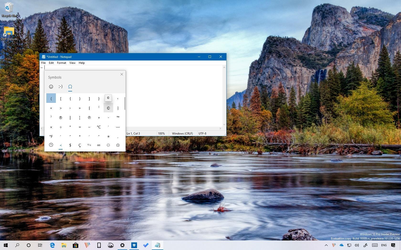 Inserting symbols on Windows 10
