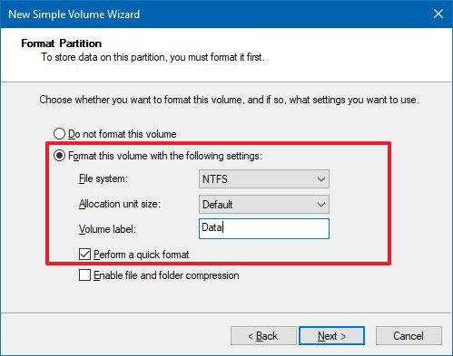 New partition format settings on Windows 10