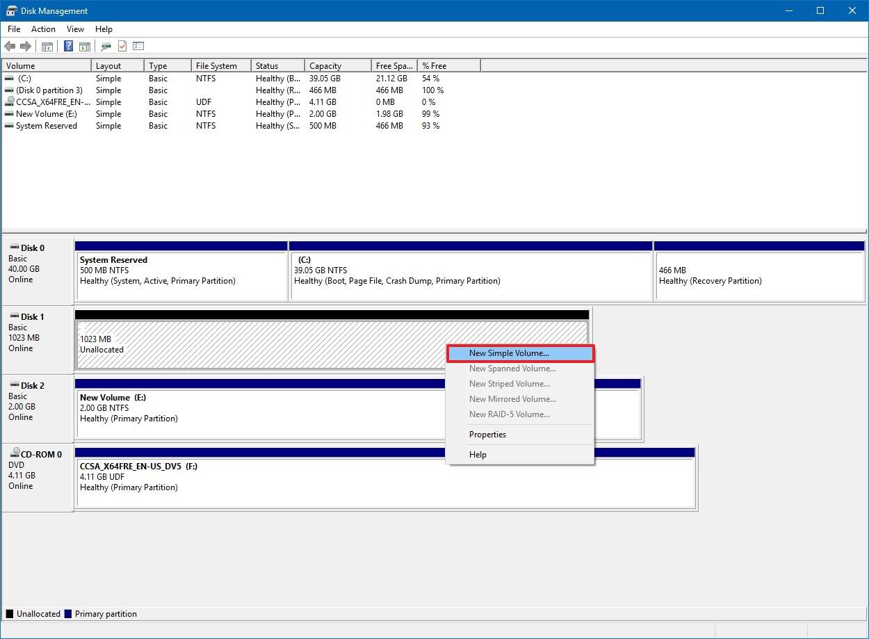 Disk Management, New Simple Volume option