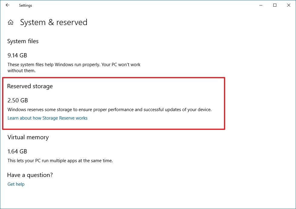 Reserved Storage on Windows 10