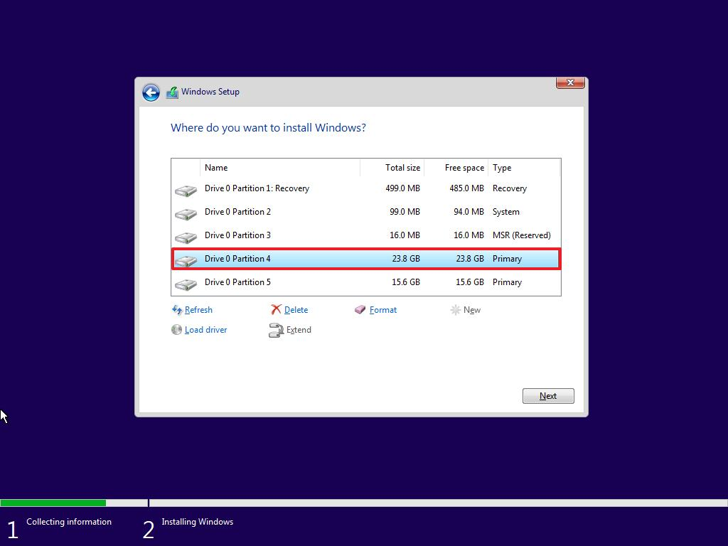 Select partition to install Windows 10