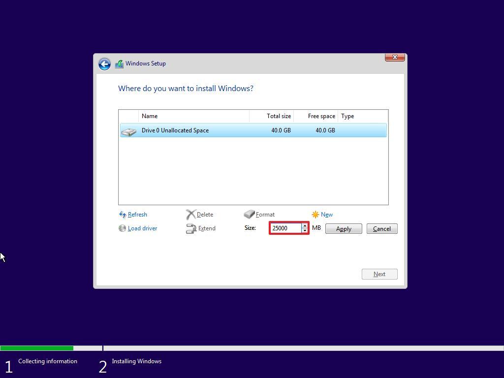 Windows 10 setup, specify partition size