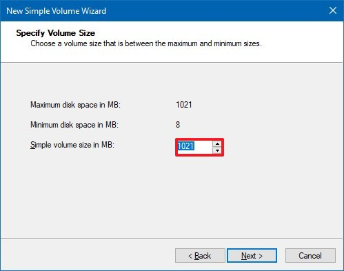 Specify partition size for a new drive