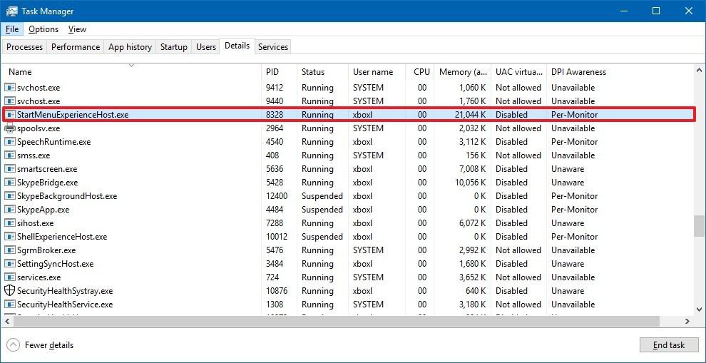StartMenuExpereinceHost.exe process on Windows 10 version 1903