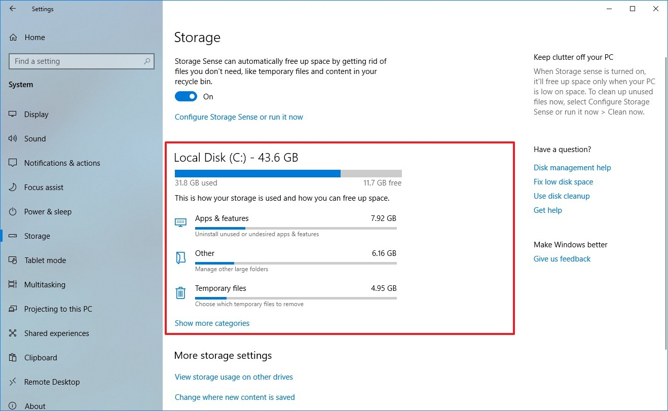 Storage settings on Windows 10 version 1903 and later