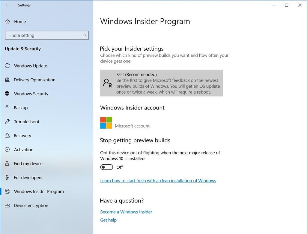 Windows Insider Program settings page on Windows 10 version 1903