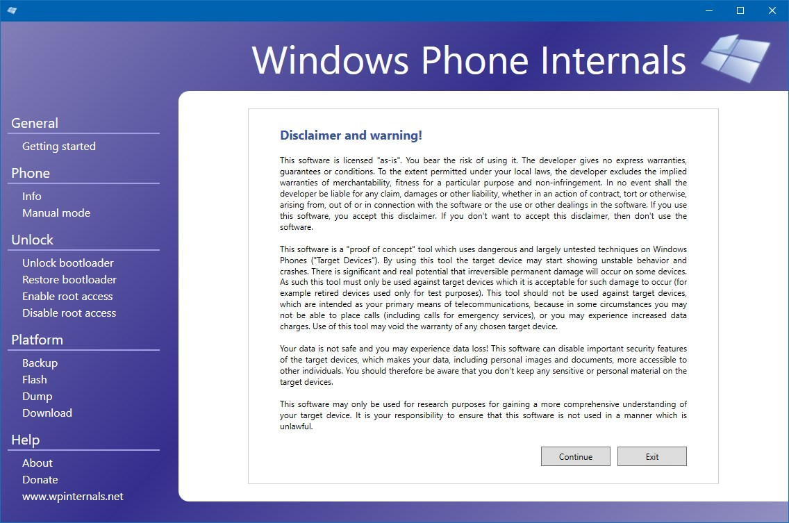 Windows Phone Internals app to unlock bootloader
