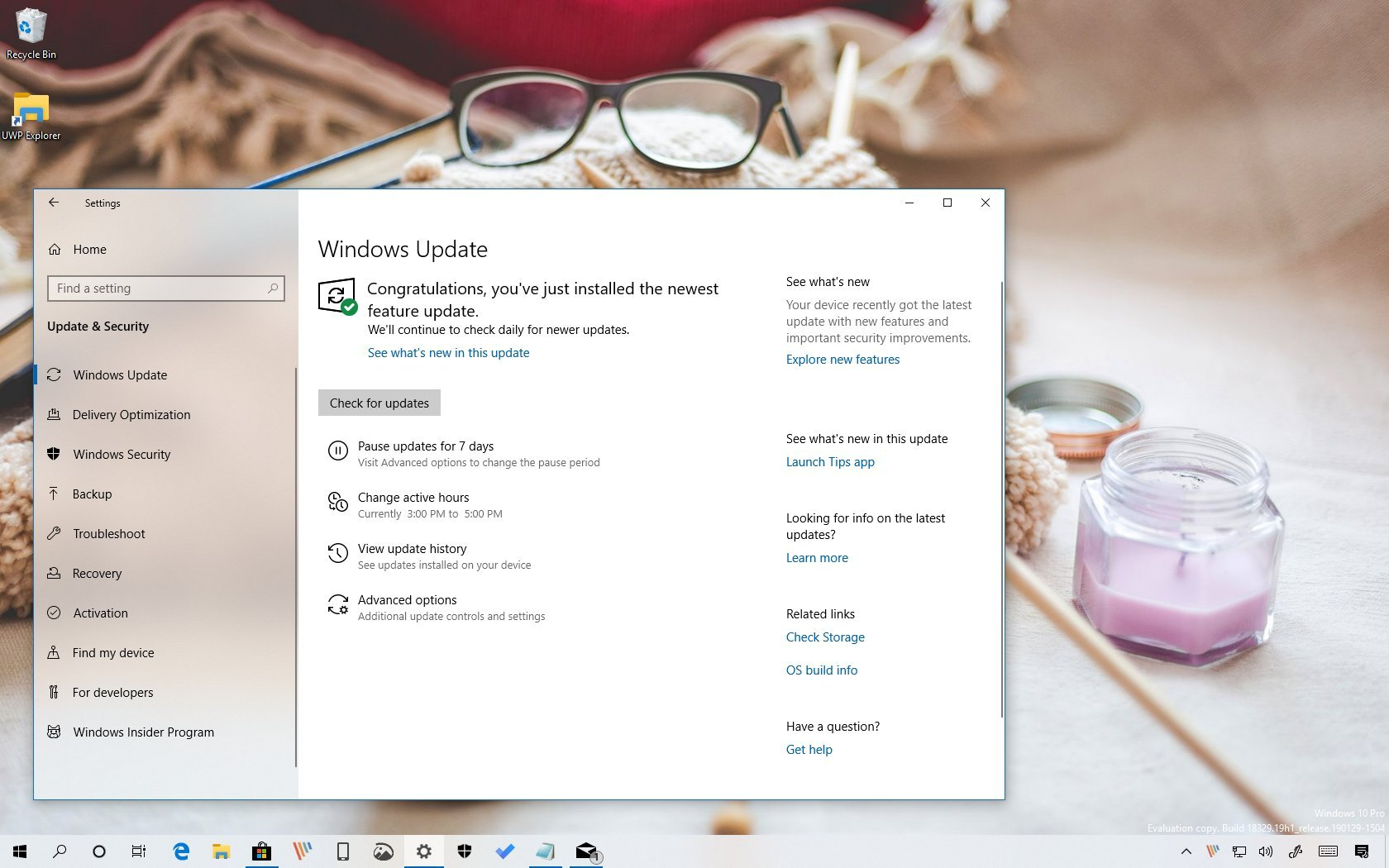Active Hours automatic configuration on Windows 10 version 1903