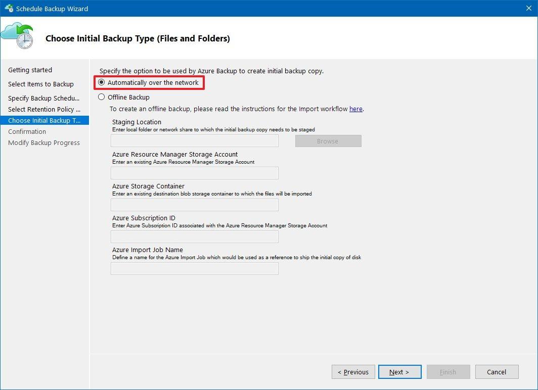 Azure initial backup type settings