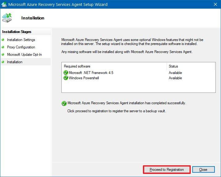 Azure backup setup launch registration