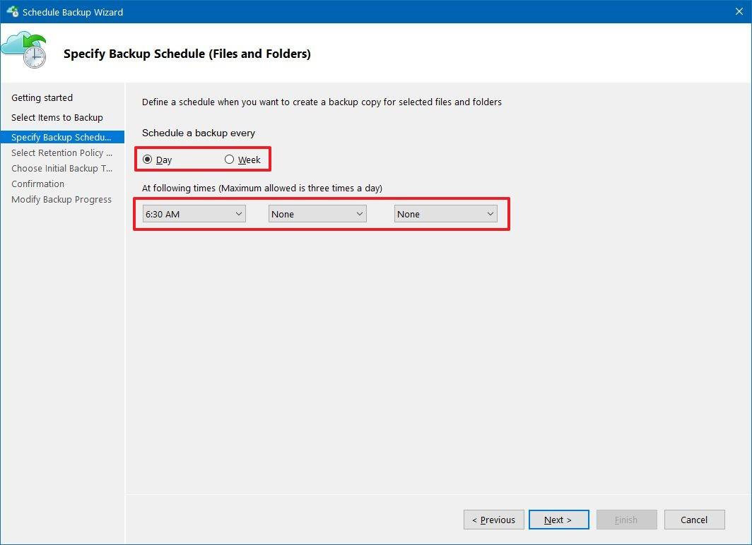 Azure backup schedule settings