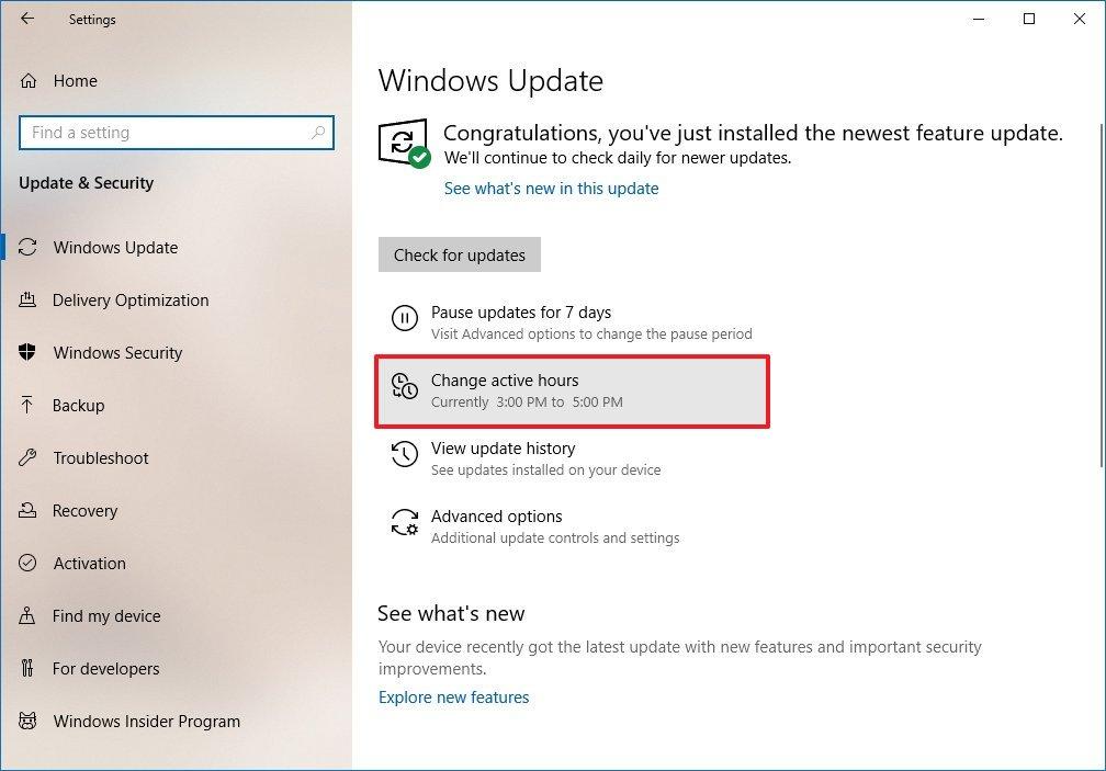 Windows Update, Change active hours button