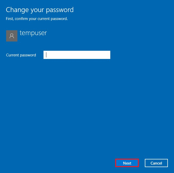 Confirm local account password