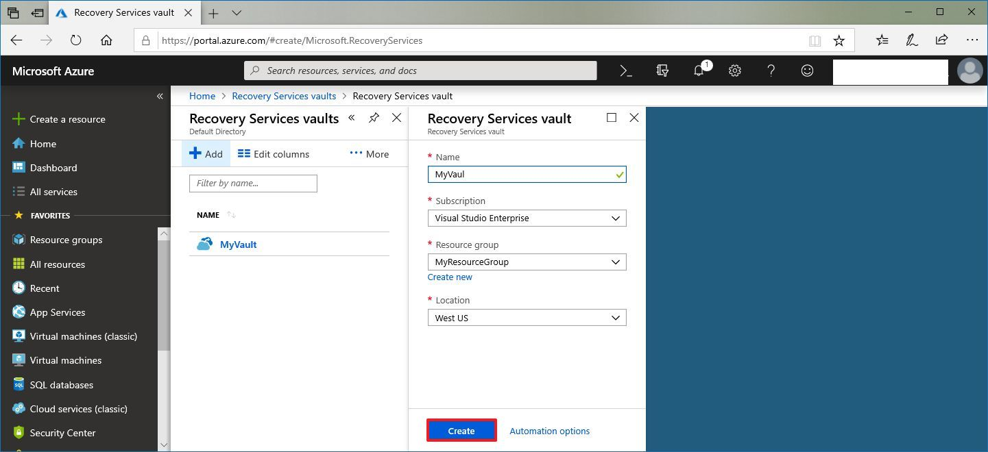 Create Recovery Services vault on Azure