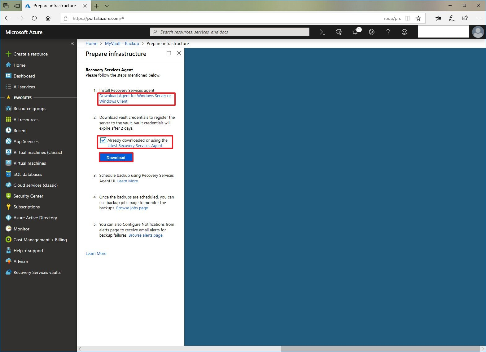 Downloading Azure backup agent and registration file