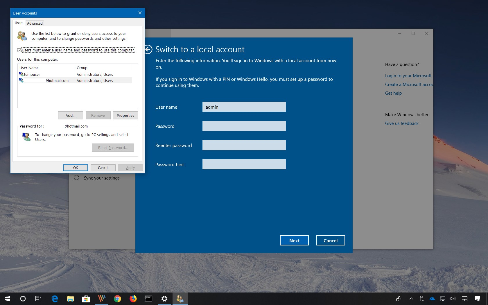 Remove login password on Windows 10
