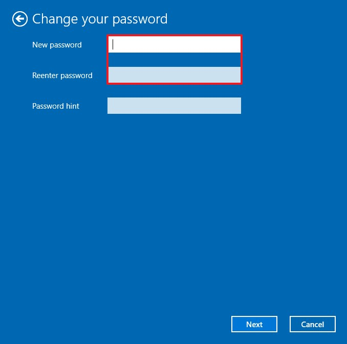 Remove password from a local account on Windows 10