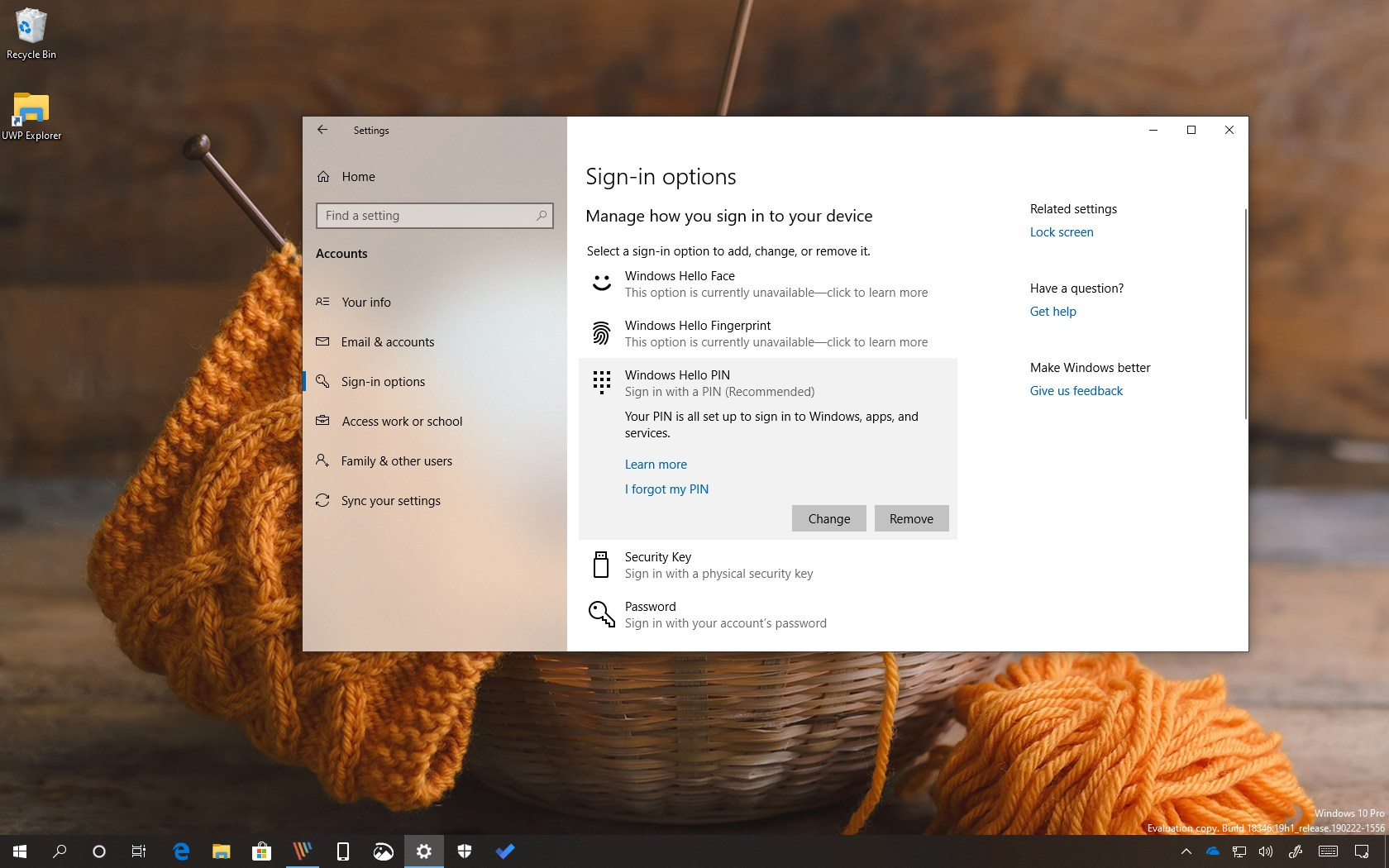 Remove PIN password on Windows 10