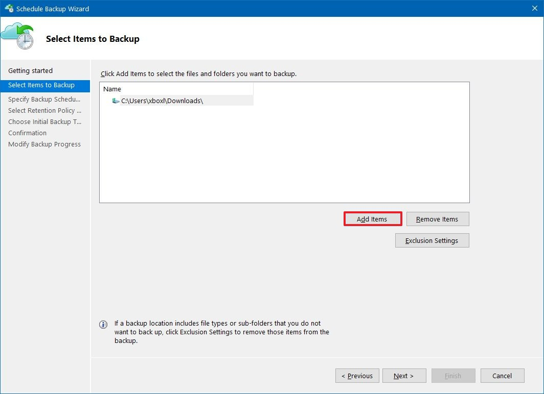 Select files to backup on Azure