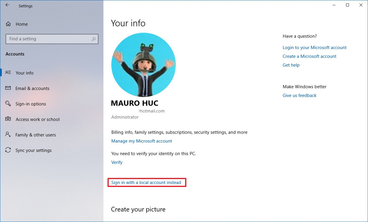 You info settings on Windows 10