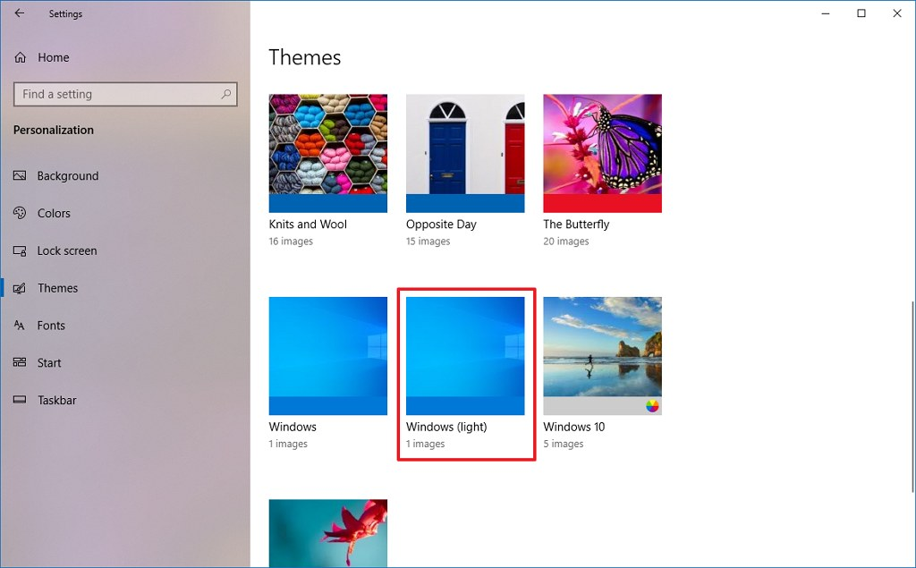 Themes settings with the April 2019 Update