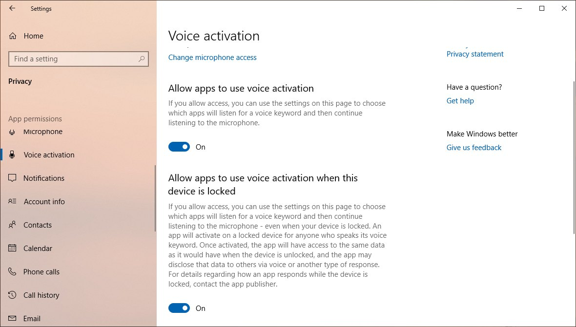Voice Activation settings on Windows 10 version 1903