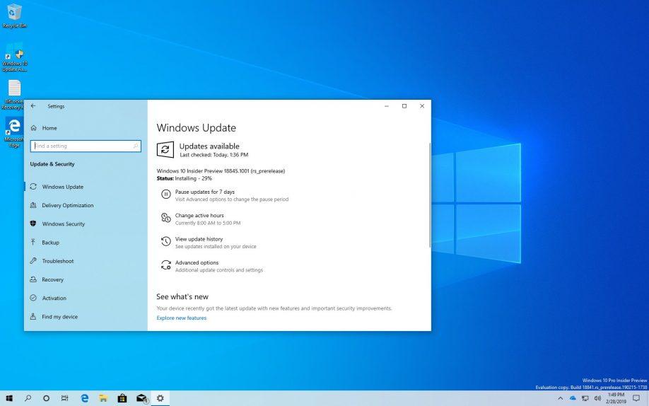 Windows 10 build 18845 (20H1)