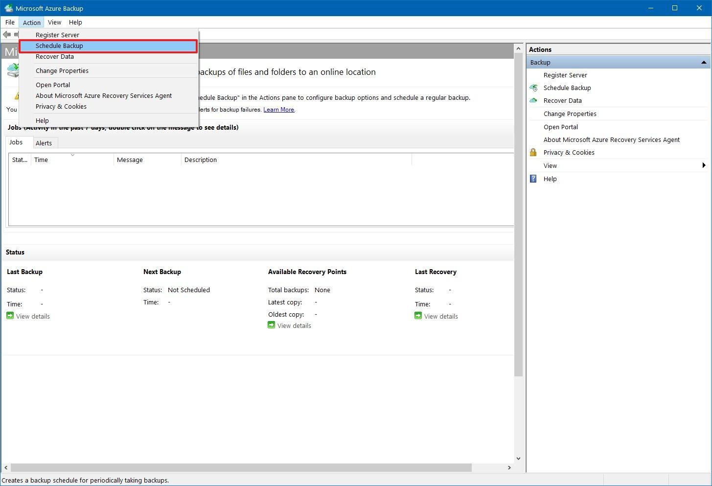 Schedule Azure backup on Windows 10