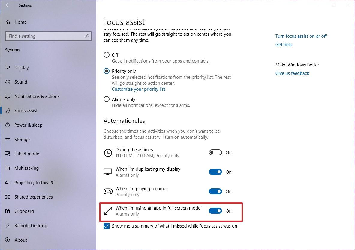 Focus assist on Windows 10 April 2019 Update