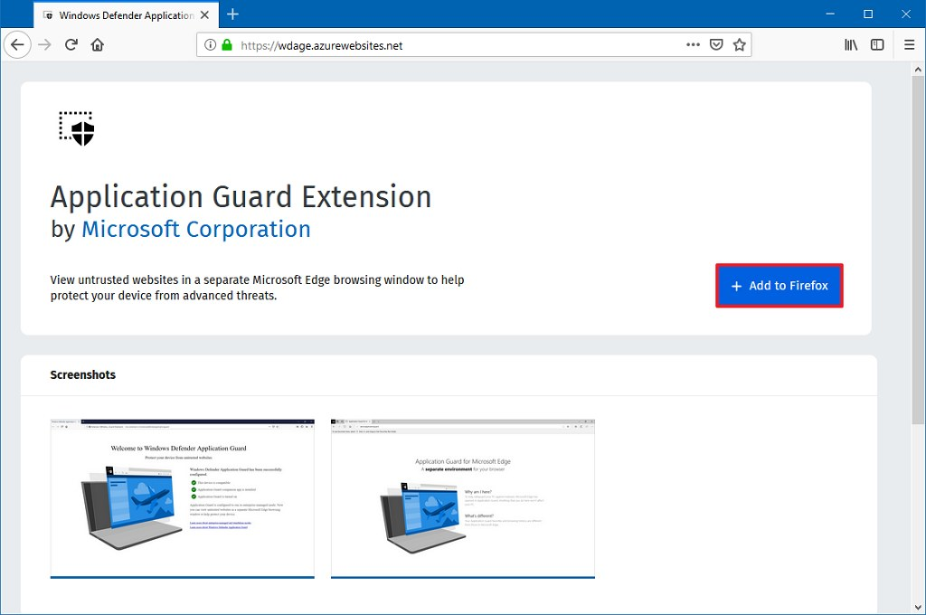 Install Application Guard extension to Firefox