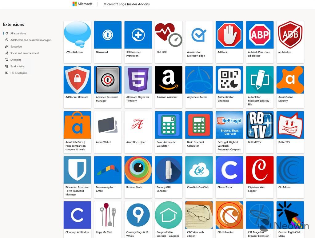 Microsoft Edge Store extensions
