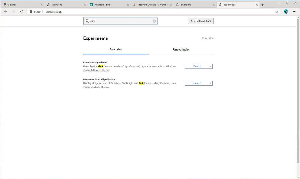 Microsoft Edge, Chromium, dark mode