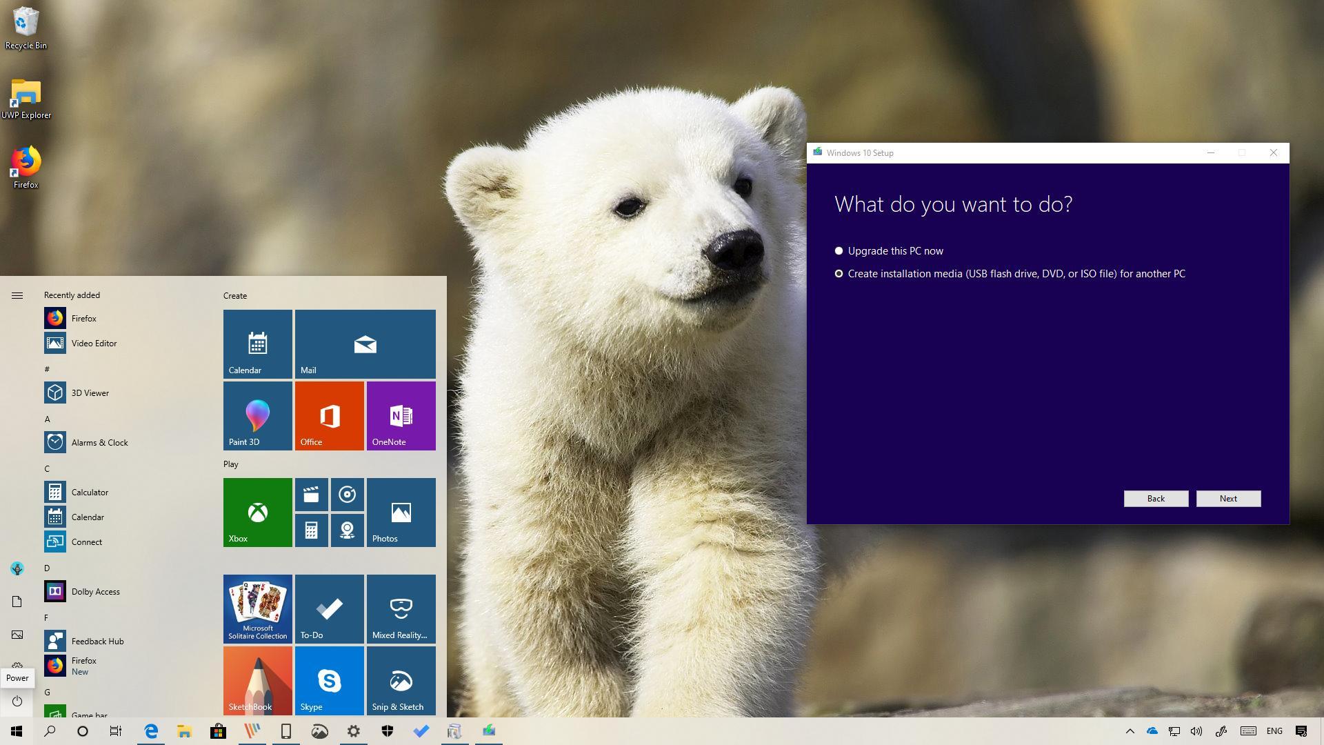 Windows 10 version 1903 clean installation