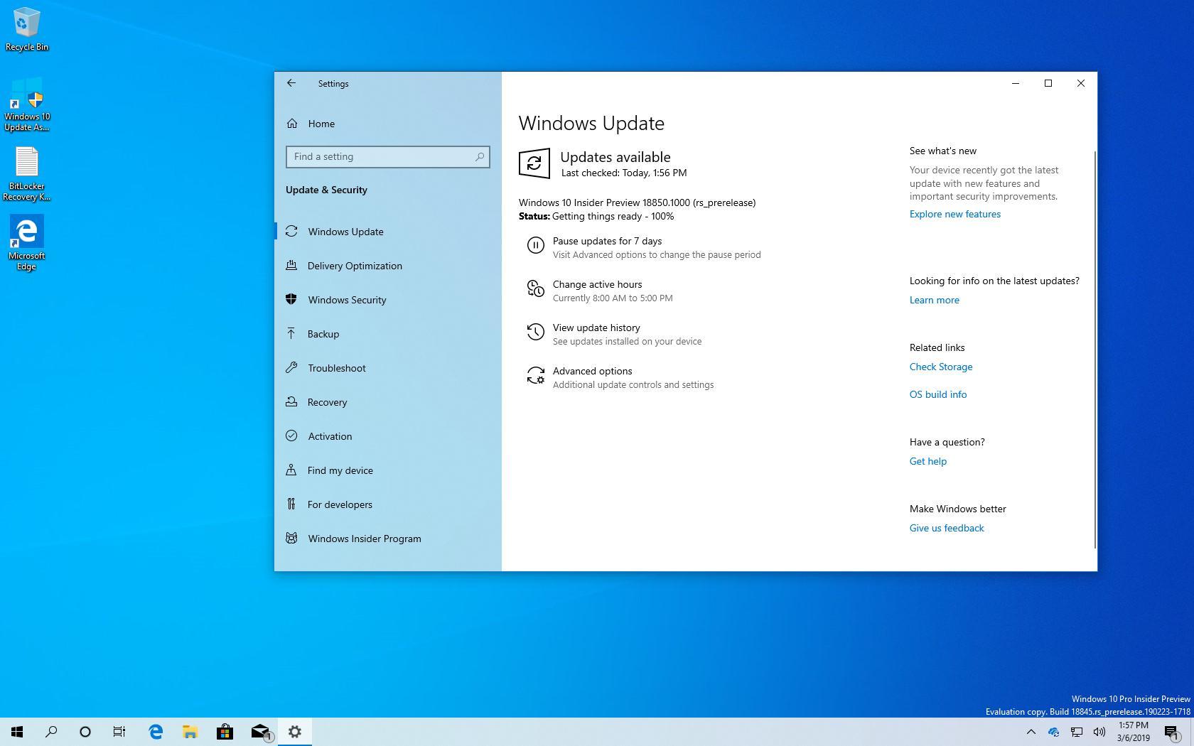 Windows 10 build 18850