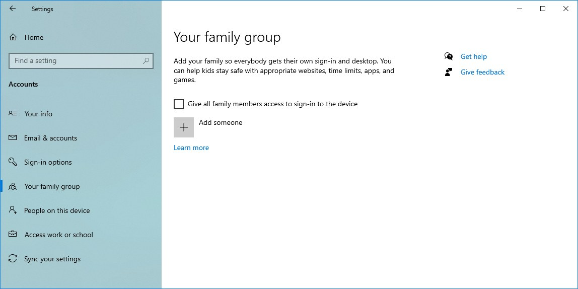 Your family group settings
