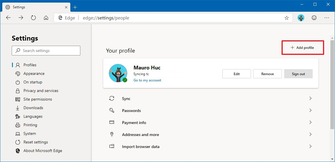 Microsoft Edge Chromium adding new profile